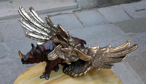 RHINOANGELO bronzo cera persa ,pezzo unico firmato 2004,cm49x24x19